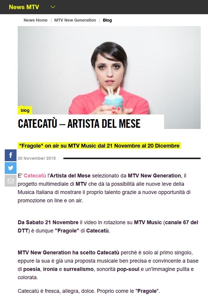 Catecatù artista del mese MTV
